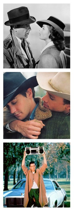 screenshots from Casablanca, Brokeback Mountain, and Say Anything