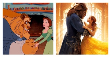 screenshots from animated and live action versions of Beauty and the Beast