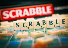 Scrabble board and game pieces