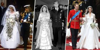 royal wedding photos of Prince Charles and Princess Diana, Prince William and Kate Middleton, Princess Elizabeth and the Duke of Edinburgh