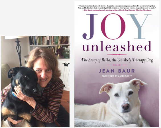 "Jean Bauer with her dog Rudy, and her book ""Joy Unleashed"""