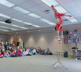 Acrobat Li Liu performs at Cheshire Public Library