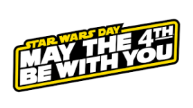 """May the Fourth be With You"" Star Wars Day logo"